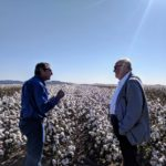 governor listens to man speak in cotton field