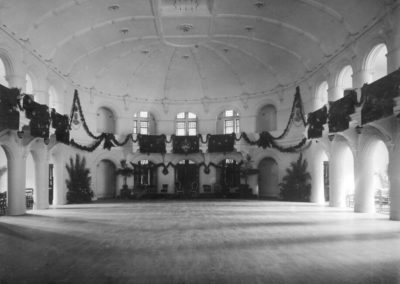 black and white image of the inside of the Ballroom