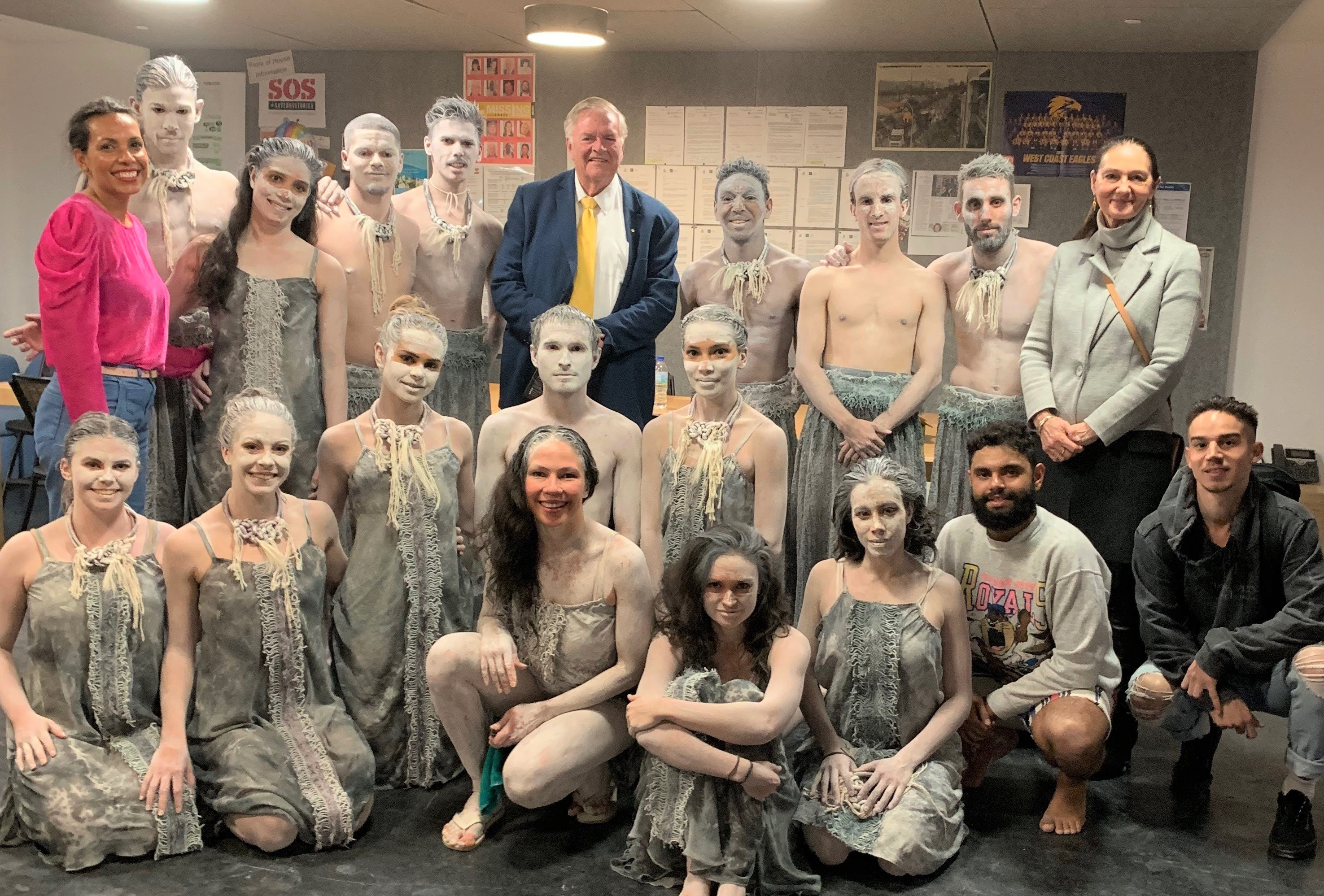 The Governor and Ms Annus with Bangarra dancers and Associate Artistic Director Frances Rings after their show