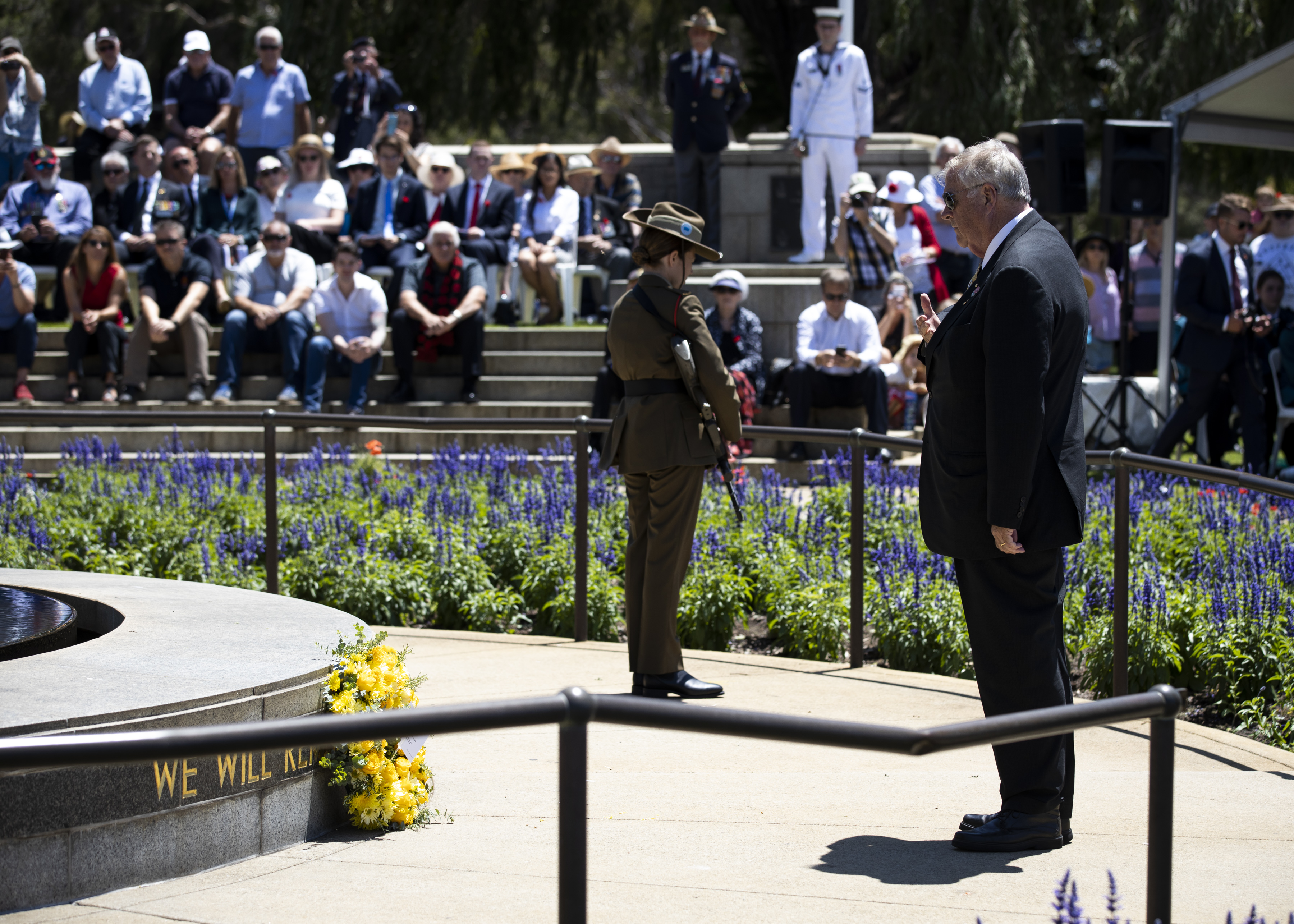 The Governor standing at the State War Memorial in Kings Park after laying a wreath at the memorial as part of the RSLWA Remembrance Day Commemorations
