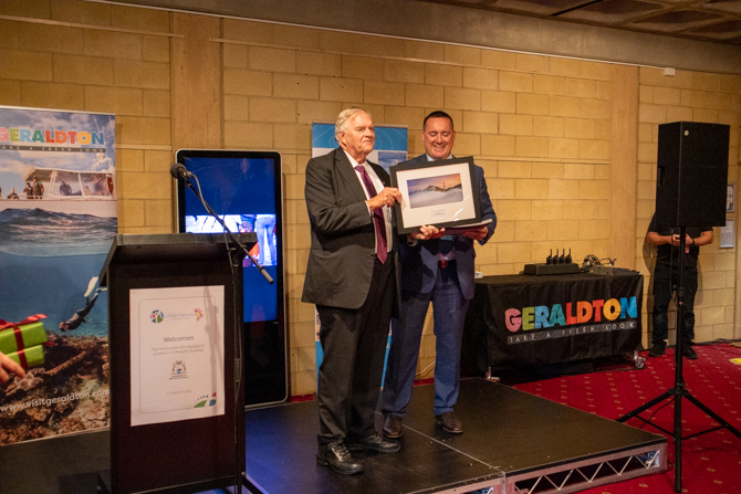 The Governor recieving gift from Mayor of Geraldton