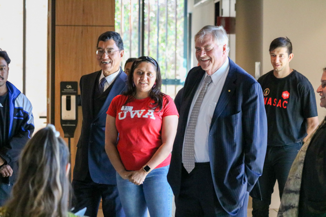 The Governor meeting students from the Bilya Marlee Centre at UWA