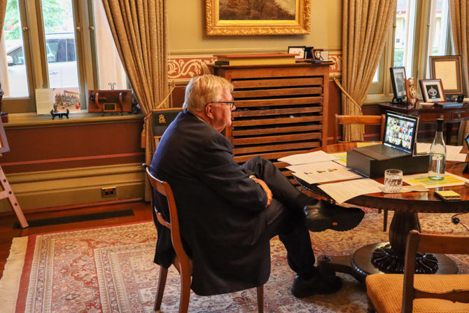The Governor on a zoom call with Rhodes Scholarship Committee members